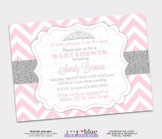 Princess Baby Shower Invitation Pink Silver Chevron Little Etsy
