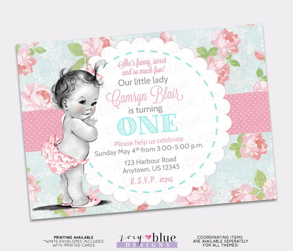 Shabby Chic Birthday Invitation Vintage Baby Girl Floral Pink Etsy