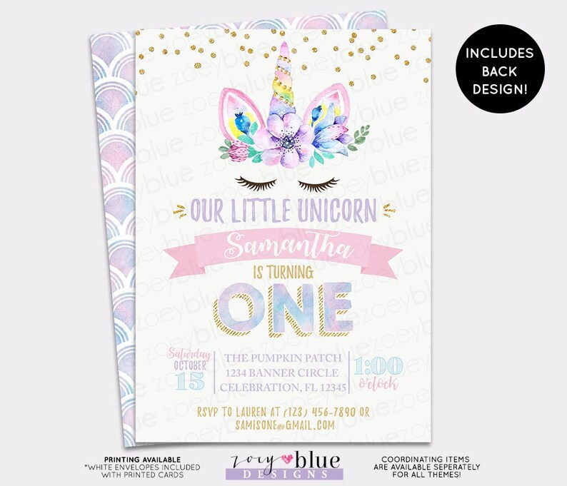 Unicorn Birthday Invitation Girl Magical First