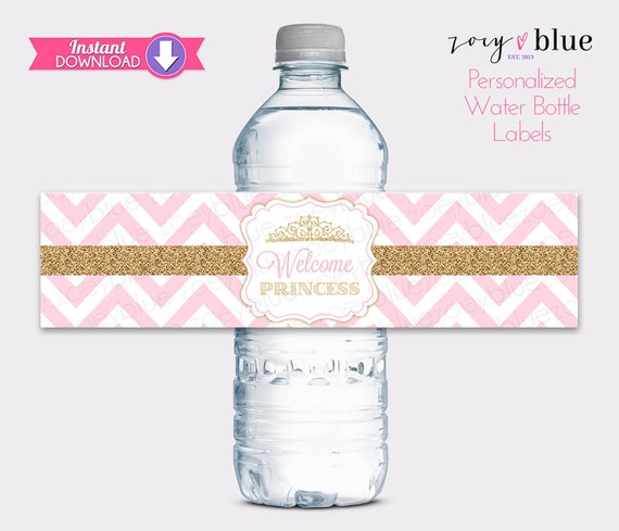 Princess Water Bottle Labels Pink Gold Baby Shower Water Etsy