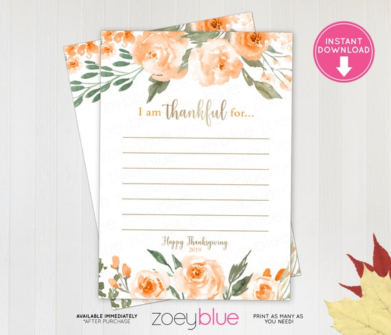 image relating to I Am Thankful for Printable known as Thanksgiving 2019 Orange Blossom Grateful Playing cards - Printable