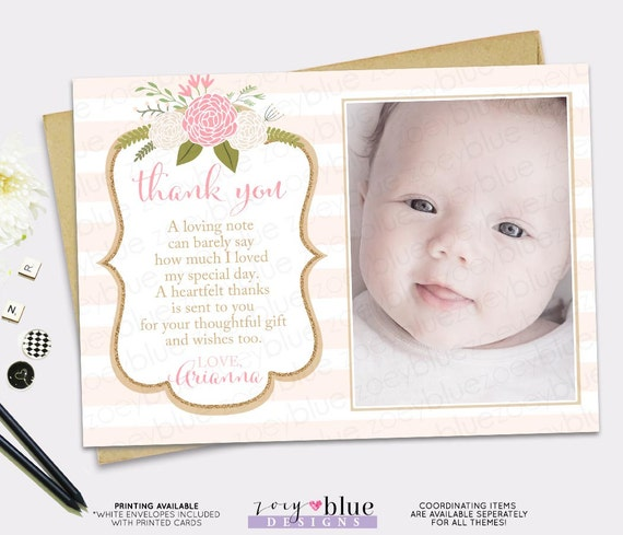 Pink Gold Thank You Card Girl Floral Picture Birthday Thank You