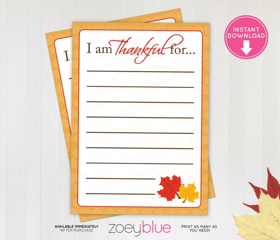 photo about Thankful Leaves Printable named Thanksgiving Grateful Playing cards Printable I am Grateful Playing cards