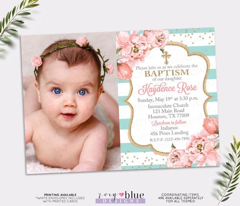 Girl Baptism Invitation Blush Pink And Turquoise Baptism Etsy