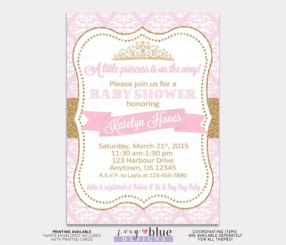 graphic relating to Printable Princess Invitations identify Princess Child Shower Invitation Crimson Chevron Gold Glitter