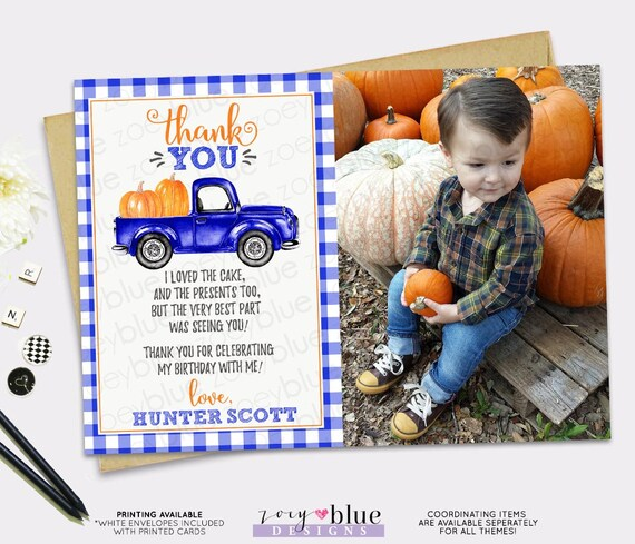 Blue Boy Pumpkin Thank You Card With Photo Blue Truck Birthday