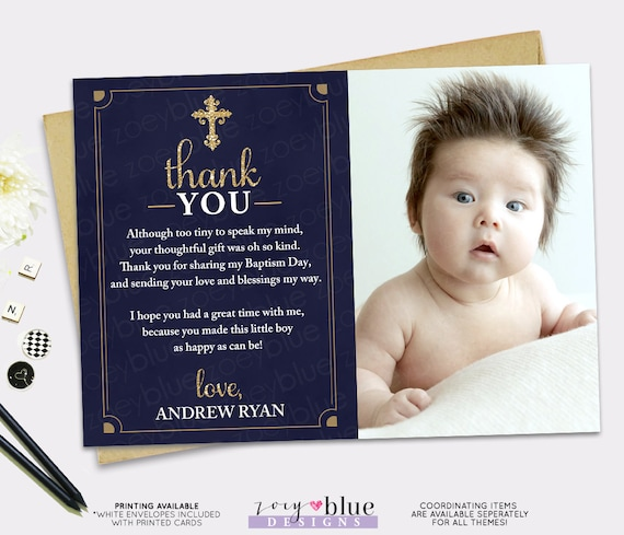 Baptism Thank You Card Navy Blue Gold Boy Picture Thank You Etsy