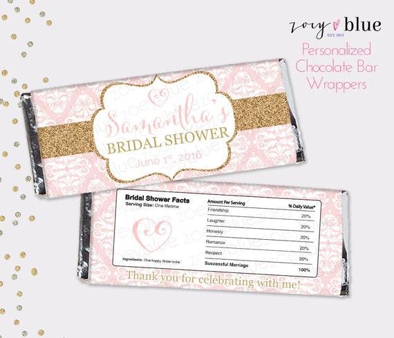 Blush Pink Gold Bridal Shower Chocolate Bar Wrapper Engagement
