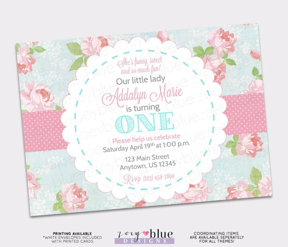 Shabby Chic Birthday Invitation Vintage Floral Pink Blue Girl First 1st The Big ONE Pattern