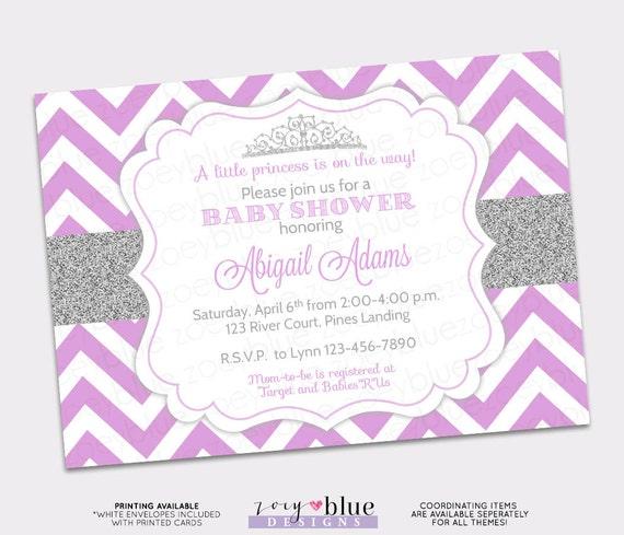 Princess baby shower invitation purple chevron silver glitter etsy image 0 filmwisefo