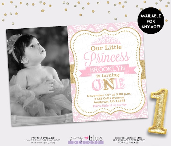 Princess Birthday Invitation Girl Gold Glitter Little Party 1st First Pink Damask