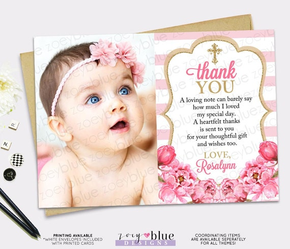 Pink Gold Thank You Card Girl Floral Picture Thank You Card