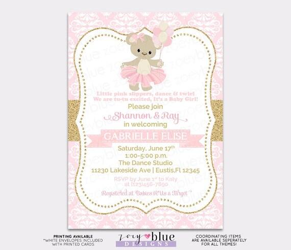 Teddy Bear Baby Shower Invitation Teddy Bear Ballerina Girl Baby