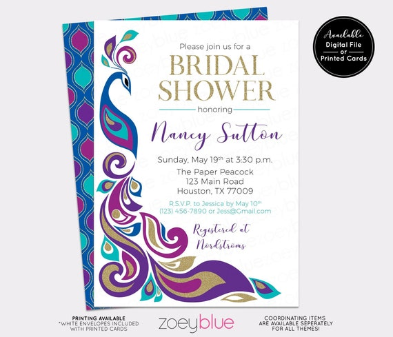 a291f5da84e PEACOCK BRIDAL SHOWER Invitation - Peacock Feather Wedding Shower Invite -  Royal Blue Plum   Gold Elegant Bridal Brunch Invitation Printable