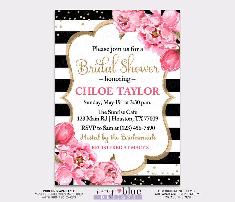 a70899dce40 Peony Bridal Shower Invitation Floral Black White Pink