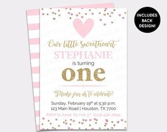 JUNE SALE Sweetheart Birthday Invitation - Little Sweetheart Pink Gold Invite - Valentine's Birthday Invitation- Heart Confetti Sweetie - Pr