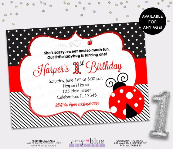 ladybug birthday invitation 1st first birthday invitation lady bug
