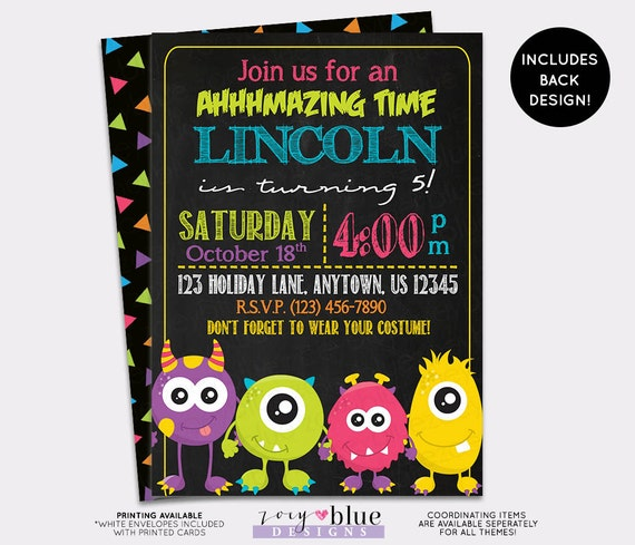 Monster Party Birthday Invitation Little First Chalkboard Bash Halloween Gender Neutral 1st Digital