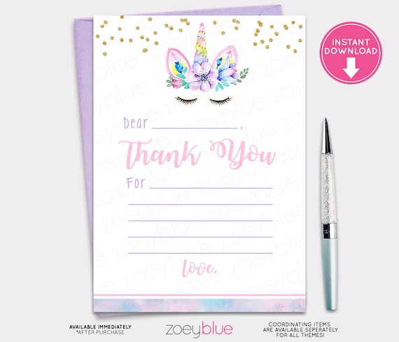 image about Fill in the Blank Thank You Cards Printable named Unicorn Thank Yourself Card - Unicorn Fill inside of the Blank Thank Yourself