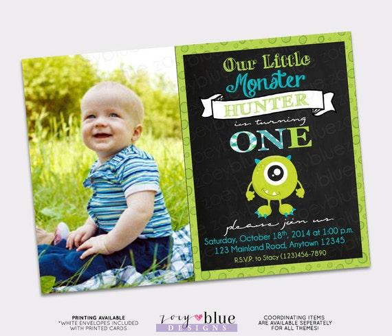 Monster Birthday Invitation Little Monster First Birthday Monster