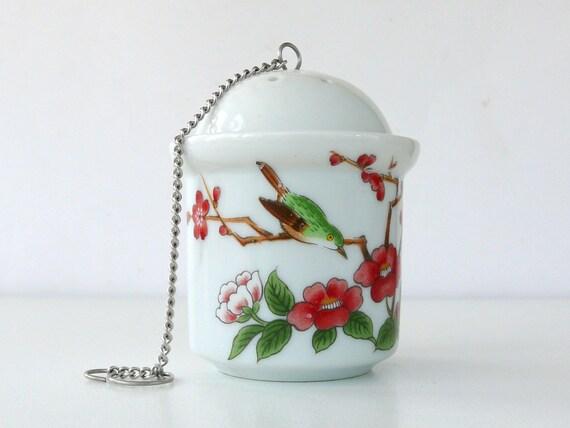 Porcelaine thé feuille passoire boule infuseur porcelaine boule à thé en porcelaine blanche et Floral rouge après-midi thé Japon céramique Art japonais