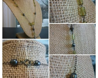Olivine Czech glass with sterling cable chain and wire wrapped freshwater pearls