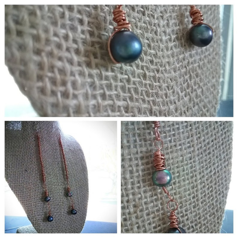 Boho Dangle Earrings  Wrapped copper with cultured freshwater image 0