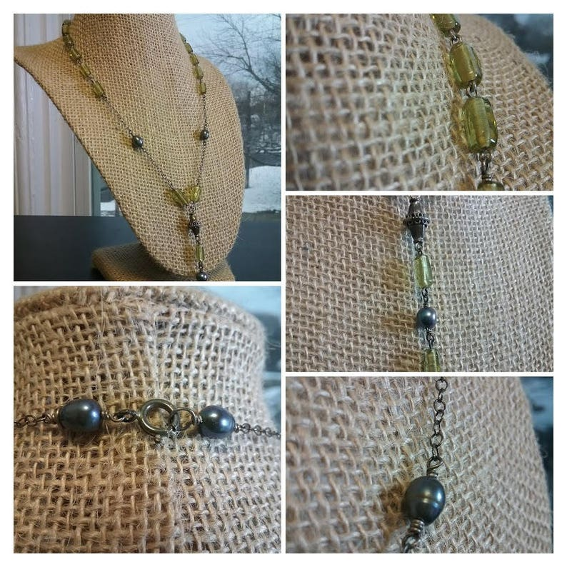Olivine Czech glass with sterling cable chain and wire wrapped image 0