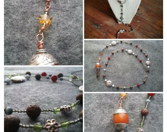 Boho lariat w/ COPAL resin + copper feather drop, gold stars, stardust antiqued copper beads, cat's eye beads, silver flowers, seed beads