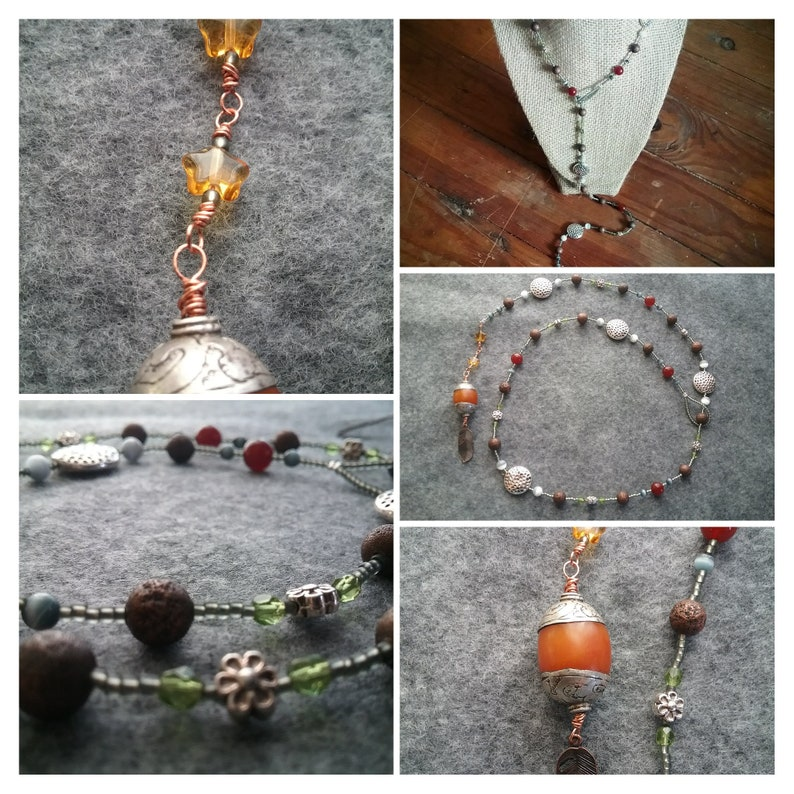 Boho lariat w/ COPAL resin  copper feather drop gold stars image 0