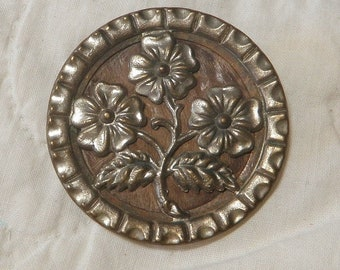 Victorian Picture Button White Metal Flowers Wood Backround Pressed Design