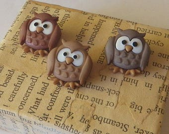3 Wise Owls Snap Together Plastic Buttons NOS