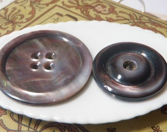 2 Smokey Mother of Pearl Buttons Iridescent Shine