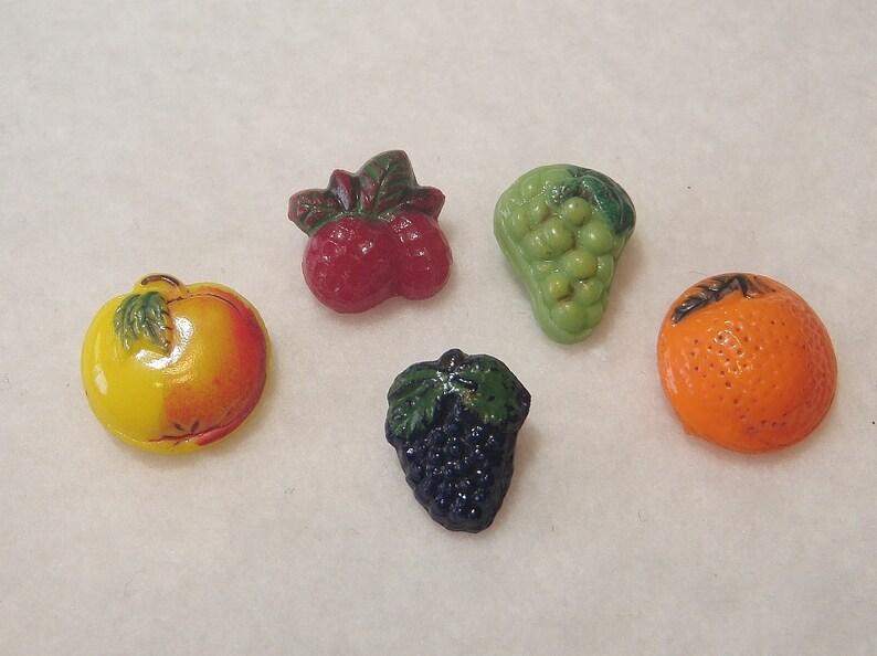 Vintage Glass Fruit Buttons Realistics