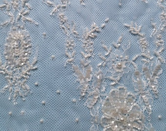 Sumptuously beaded couture lace - Gemstone- ivory only - sold per yard.  53 inches wide