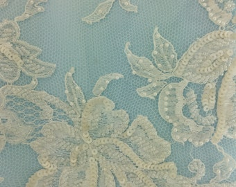 French Chantilly lace - Ailsa beaded  - white - sold per half yard.  36 inches wide.