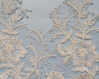 Wide corded lace trim- 10inches wide - sold per half yard- Montana
