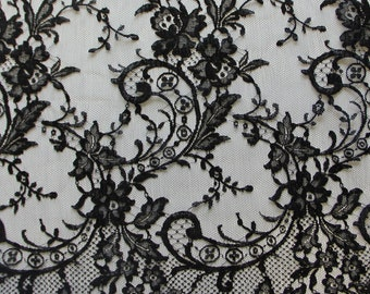 French Chantilly lace - Olivia - black - sold per half yard.