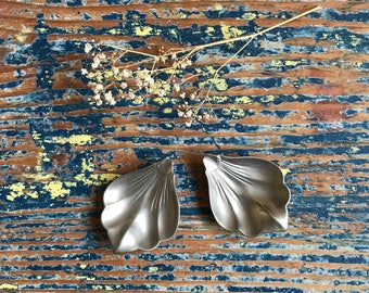 Pair of Antique Silver Flower Petals /  Trinket Bowls / Wedding Ring Display/ Holder