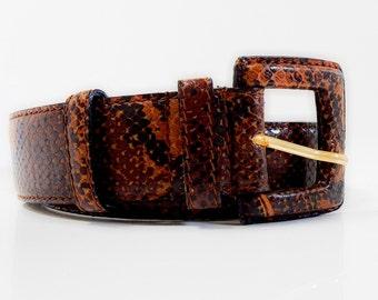 Modern - Vintage Couture Genuine Reptile Leather Belt  , Slim Ladies/High Fashion-Vintage Accessories,Women