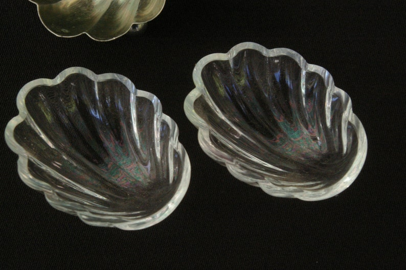 with crystal glass liners and 2 silver spoons solid silver 800 Pair of antique Caviar Cellars