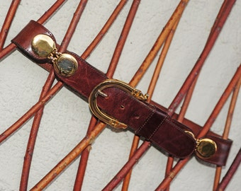 STEFANINI - Vintage Couture Genuine Calf Leather Belt with gilded hinges and buckle, Slim Ladies/High Fashion-Vintage Accessories,Women