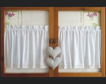 Set Of 2 Country Curtains Cotton With Lace And Hearts Window Short Gray White Dots Shabby Chic Retro