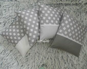 Pillowcase,4 PIECES ,handmade,hand crochet,home decor, designer,shabby chic,sewn,gift,paris,kitchen decoration