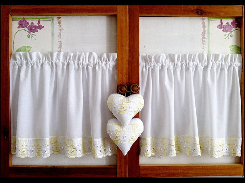 Country curtains cotton with beige lace and  hearts short curtains shabby chic retro gray-white with dots window curtains
