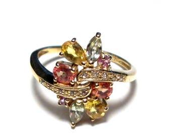 Edelstein Ring Silber, vergoldet, Diamanten, Gr. 57, Sterling Silver Ring,Diamond, Precious Stone, Size 8,0, Silverring,Vintage