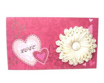 Card for money gifts, greeting card, wedding birthday, Wedding card money holder, envelope with card wedding, envelope