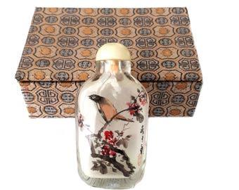 Chinesische Schnupftabak Flasche Vintage, Snuff Bottle Jiankou, China Birds, Tabakflasche Glas, Hinterglas malerei