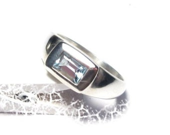 Gemstone silver ring Topaz, Gr. 56, sterling silver ring, Topaz, precious stone, US size 7.6 UK size P