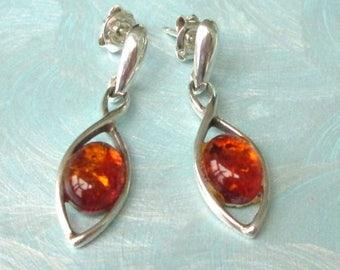 Amber pierced earrings, amber ear plugs sterling silver, vintage Stud, 925 silver, jewelry, amber jewelry